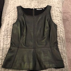 NWOT Halogen leather peplum top